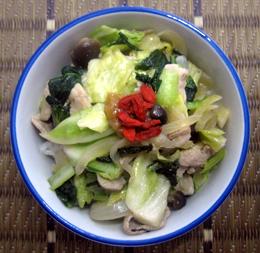 黒酢でさっぱり野菜たっぷり丼